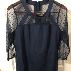 Lane Bryant Navy Blue Polka Dot Dress